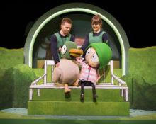 Duck (Gilbert Taylor) and Sarah (Jane Crawshaw). SARAH & DUCK. Photo Credit Pamela Raith