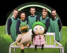 Duck and Sarah with cast members Gilbert Taylor, Aya Nakamura, Mark Esaias, Jane Crawshaw and Timothy Frazer. SARAH & DUCK. Photo Credit Pamela Raith
