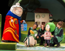 Scarf Lady, Bag, Duck and Sarah with cast members Aya Nakamura, Mark Esaias and Jane Crawshaw. SARAH & DUCK. Photo Credit Pamela Raith